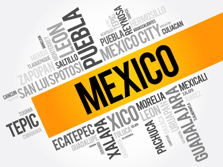 List of cities and towns in Mexico, word cloud collage, business and travel concept background Illustration