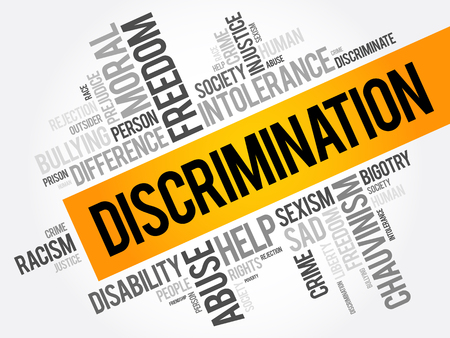 Discrimination word cloud collage, social concept background Illustration