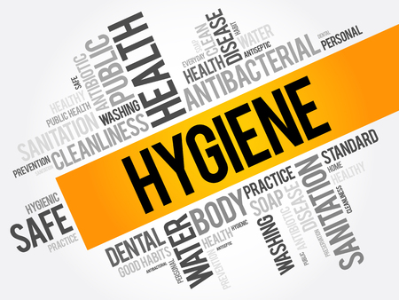 habit: Hygiene word cloud collage, health concept background