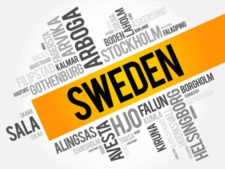 スウェーデン、単語の雲のコラージュ、ビジネスおよび旅行コンセプト背景の都市のリスト  イラスト・ベクター素材