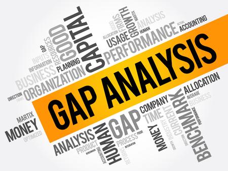 Gap Analyse Wort Wolke Collage, Business-Konzept Hintergrund Vektorgrafik