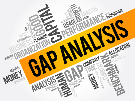 Gap Analysis word cloud collage, business concept background Vectores