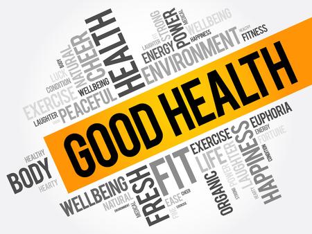 좋은 건강 단어 구름 콜라주, 건강 개념 배경