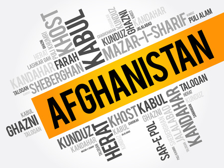 taliban: List of cities and towns in Afghanistan, word cloud collage, business and travel concept background