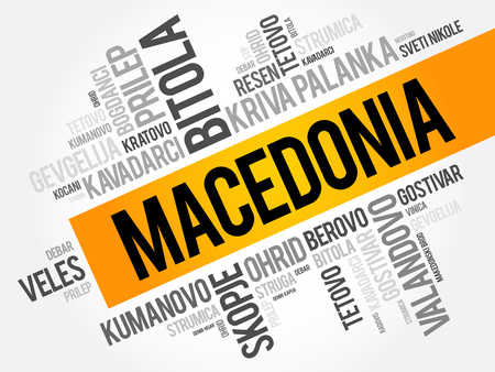 List of cities and towns in the Republic of Macedonia, word cloud collage, business and travel concept background