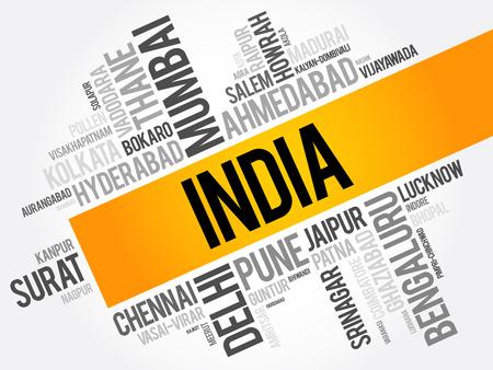 인도 단어 구름 콜라주, 비즈니스 및 여행 개념 배경 도시 목록 일러스트