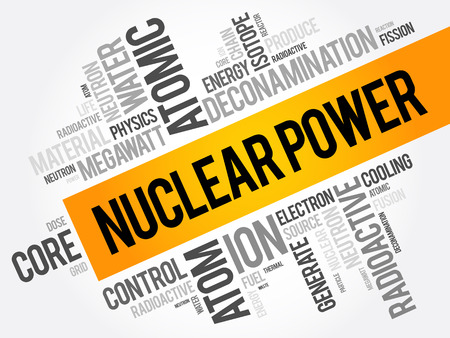 Nuclear Power word cloud collage, concept background