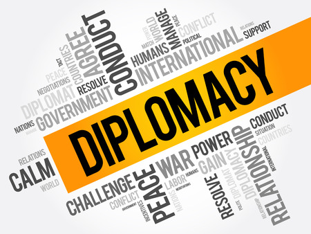 tact: Diplomacy word cloud collage, political business concept background