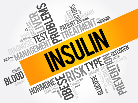 Insulin word cloud collage, health concept background