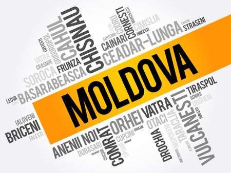 bender: List of cities in Moldova word cloud collage, business and travel concept background