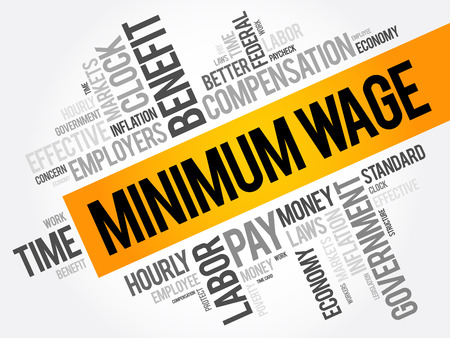 Minimum Wage word cloud collage, business concept background Ilustracja