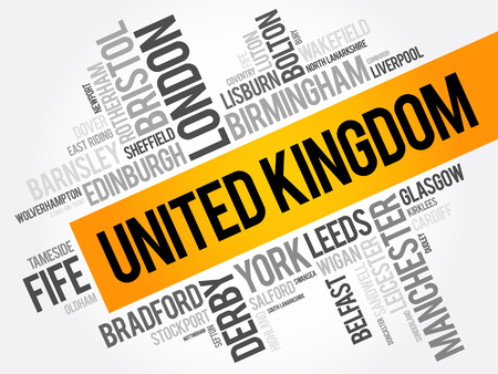 List of cities and towns in the United Kingdom, word cloud collage, travel concept background