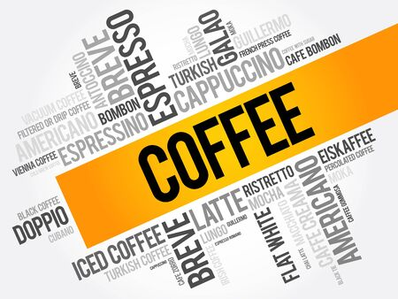coffee beans: List of coffee drinks words cloud collage, poster background Illustration