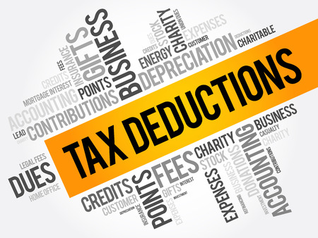 depreciation: Tax Deductions word cloud collage, business concept background