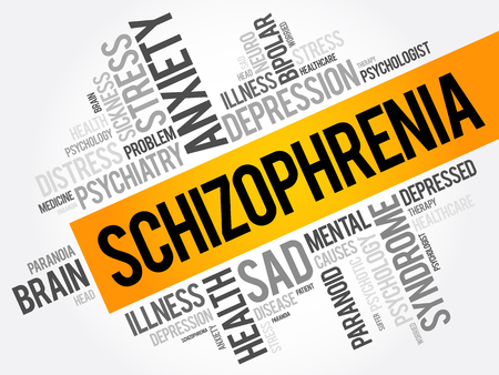 Schizophrenia word cloud collage, health concept background