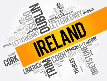List of cities in Ireland word cloud collage, business and travel concept background Illustration