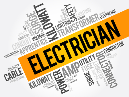 Electrician word cloud collage, concept background  イラスト・ベクター素材