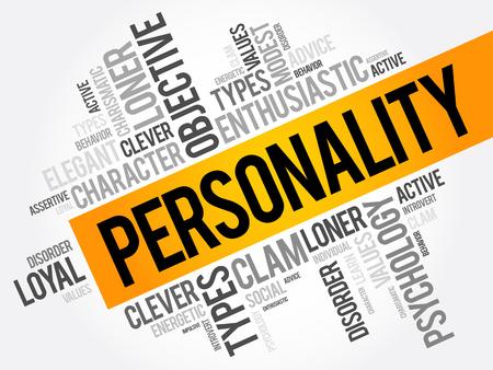 Collage de la nube de la palabra de la personalidad, fondo del concepto social Vectores