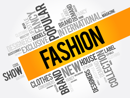 Fashion word cloud collage, concept background Illustration