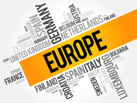 Europe List of cities word cloud collage, travel concept background Illustration