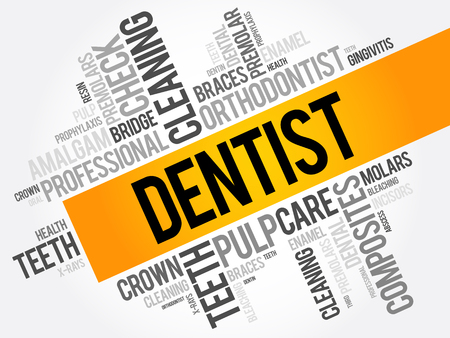 Dentist word cloud collage, health concept background Иллюстрация