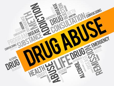 마약 남용 단어 구름 콜라주, 건강 개념 배경 일러스트