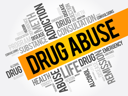 Drug Abuse word cloud collage, health concept background