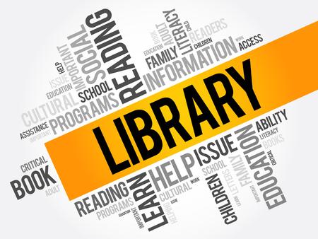 ライブラリ単語雲コラージュ、概念の教育の背景  イラスト・ベクター素材