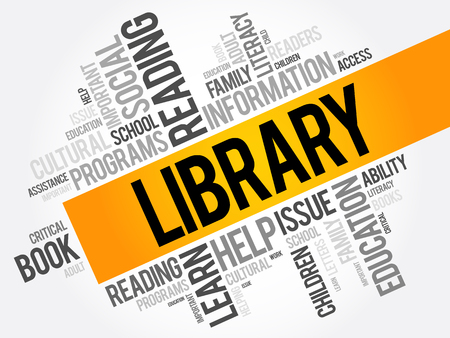 hardcover: Library word cloud collage, education concept background