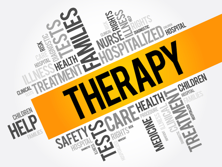 Therapy word cloud collage, health concept background Illustration
