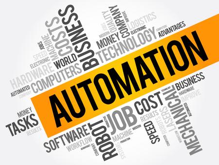 advantages: Automation word cloud collage, technology business concept background Illustration