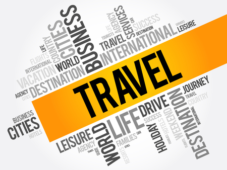 family holiday: Travel word cloud collage, tourism concept background