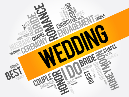 Wedding word cloud collage, social concept background