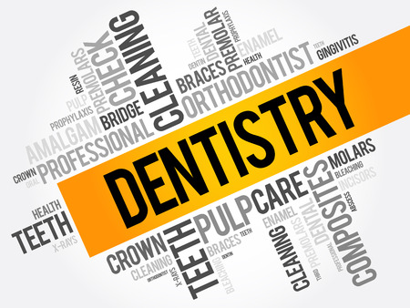 Dentistry word cloud collage, health concept background Illustration