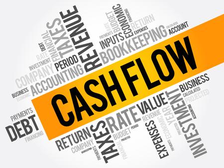 Cash Flow word cloud collage, business concept background Illustration