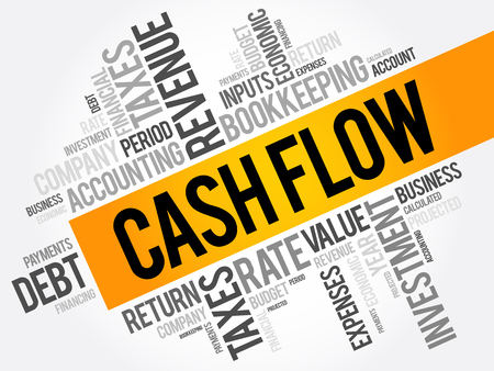 Cash Flow word cloud collage, business concept background Vectores