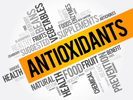 Antioxidanten word cloud collage, gezondheid concept achtergrond