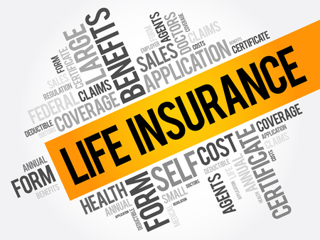 LIFE Insurance word cloud collage, healthcare concept background