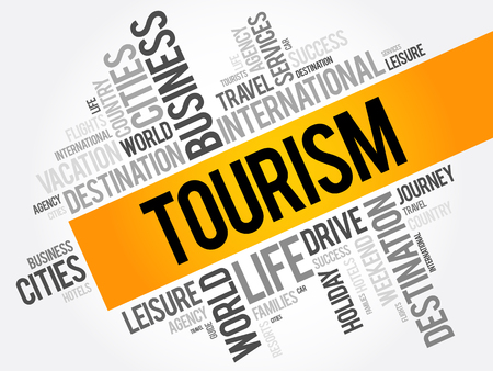 family holiday: Tourism word cloud collage, travel concept background Illustration