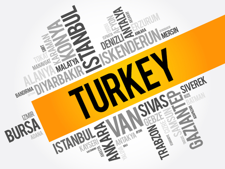 konya: List of cities in Turkey word cloud collage, business and travel concept background