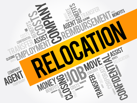 Relocation word cloud collage, business concept background Illustration