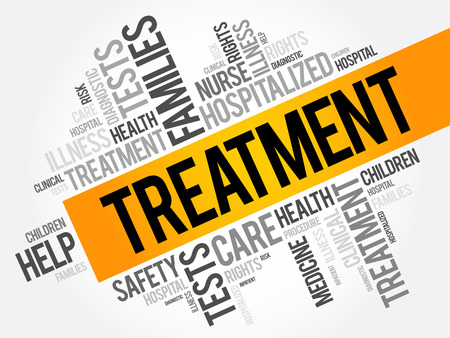 Treatment word cloud collage, health concept background Illustration