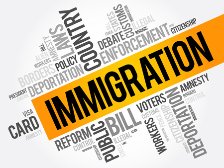 移民単語雲コラージュ、社会的概念の背景