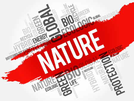 Nature word cloud, conceptual ecology background