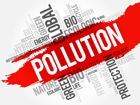 denial: Pollution word cloud, conceptual ecology background Illustration