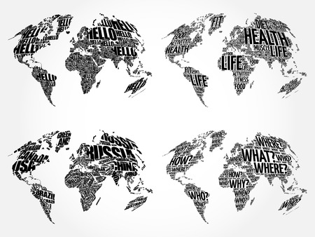 Set Of Infographic World Word Cloud Maps In Typography Health