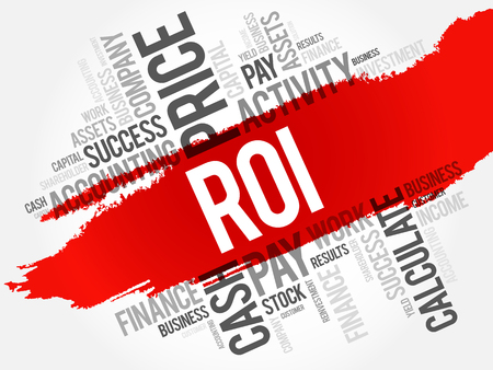 financial advice: ROI - Return on investment word cloud collage, business concept background