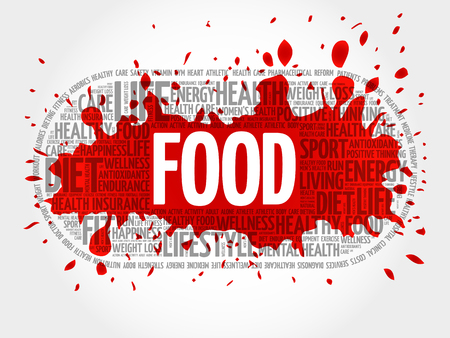 FOOD word cloud collage, fitness, health concept