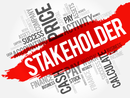 secondary: Stakeholder word cloud collage, business concept background Illustration