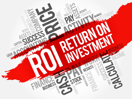 ROI - Return on investment word cloud collage, business concept background